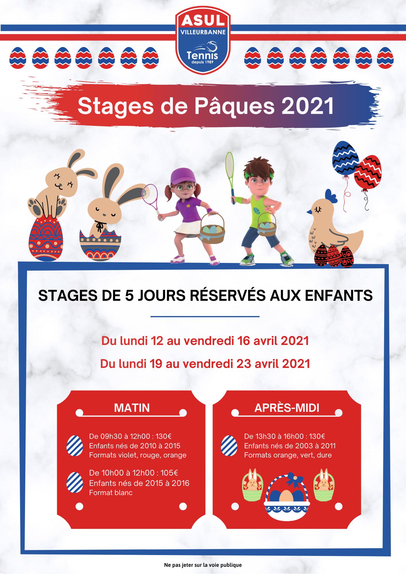Affiche - Stages de Pâques 2021